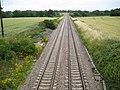 Woodborough, Main railway line to London, 79 miles ahead - geograph.org.uk - 1398670.jpg