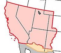 Territorios mexicanos cedidos a los Estados Unidos según el Tratado de Guadalupe Hidalgo, entre los que se incluye Nevada.