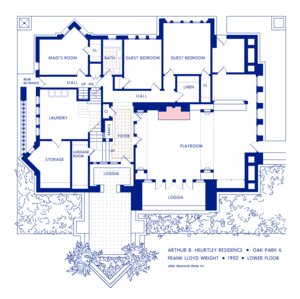 Arthur Heurtley House - Ground floor plan.