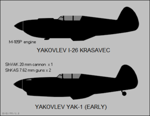 Yakovlev Yak-1 - Side-view silhouettes of the Yakovlev I-26 Krasevec and an early production Yak-1.