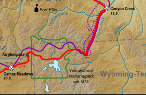 Nez Perce in Yellowstone Park - A map of the route of the Nez Perce (red) and General Howard (purple) across Yellowstone National Park and vicinity. The dotted purple line shows the route of Colonel Sturgis.