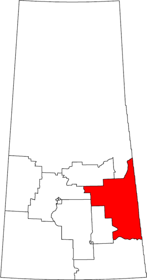 Yorkton—Melville - Yorkton—Melville in relation to other Saskatchewan federal electoral districts as of the 2013 Representation Order.