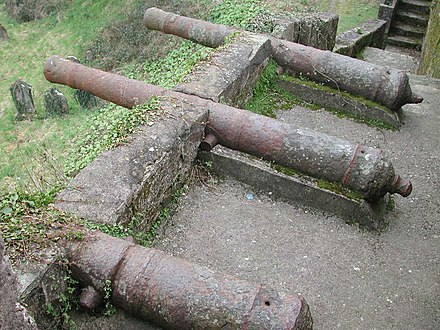Remains of a post-medieval cannon battery, mounted on a medieval town wall, although without carriages Youghal Battery.JPG