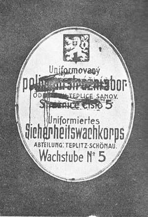 Teplice - Czech inscriptions smeared by Sudeten German activists, March 1938