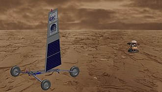 "Land sailing - The ""Zephyr"" landsailing rover, a concept for a wind-propelled rover on the surface of Venus.  Image from NASA John Glenn Research Center, for the NASA Innovative Advanced Concepts (""NIAC"") project."