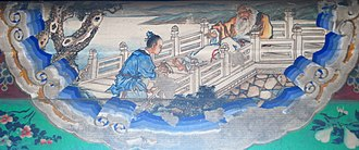 An illustration of Zhang Liang putting Huang Shigong's shoe back on at the Long Corridor of the Summer Palace, Beijing. Zhangliang and Huangshigong.JPG