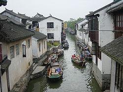 Town of Zhouzhuang, Jiangsu. South Jiangsu is famed for its towns crisscrossed by canals.