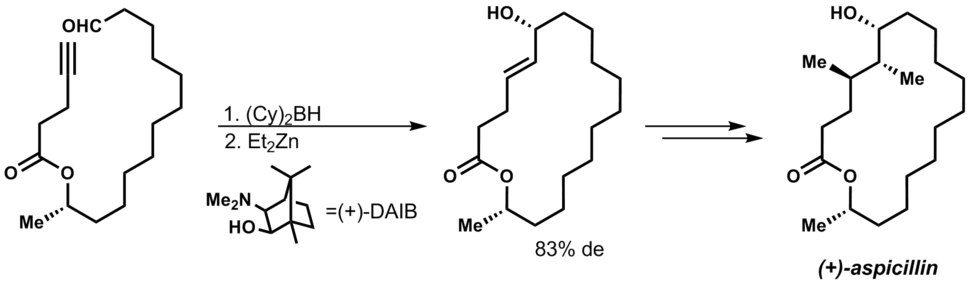 The total synthesis of (+)-aspicillin involves a Barbier reaction