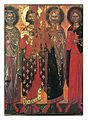 Άγιος Ευγένιος, Κανίδιος, Ουαλεριανός και Ακύλας, σε εικόνα που δώρισε το 1375 στην αγιορείτικη Μονή Αγίου Διονυσίου ο αυτοκράτορα.jpg