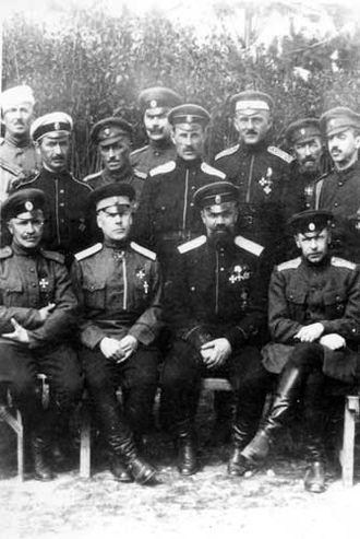 Nikolai Skoblin - White Generals in Bulgaria, 1921. Seated from right to left : generals Shteifon, Kutepov and  Vitkovsky. Standing (behind Kutepov) : generals Skoblin and Turkul.