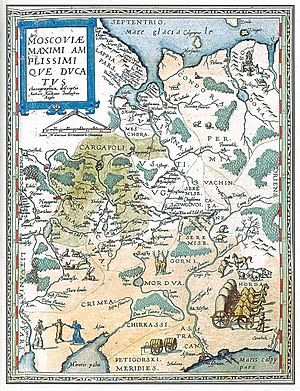 Anthony Jenkinson - Map of Muscovy prepared by Anthony Jenkinson and Gerard de Jode (1593)