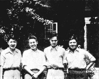 Zhu Guangya - Left to right: Zhu Guangya, Zhang Wenyu, Chen Ning Yang, and Tsung-Dao Lee (1947)