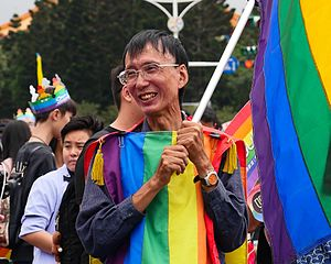 "Same-sex marriage in Taiwan - Following the Constitutional Court ruling, longtime gay activist Chi Chia-wei (祁家威) said that he was ""leaping with joy like a bird""."