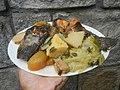 0099Nilagang repolyo, petsay Tagalog, kamote, patatas, kamatis at Pritong Dalag (Bulig) sa tanglad 07.jpg