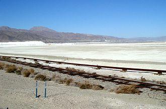 Searles Lake - Trona, California abuts northwest of the dry Searles Lake bed.