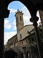 044 Sant Jeroni de la Murtra, el campanar des de la galeria oest del claustre.JPG