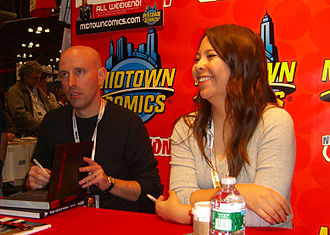 Fiona Staples - Staples and Brian K. Vaughan at the Midtown Comics booth at the 2012 New York Comic Con