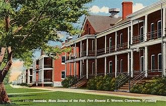 Francis E. Warren Air Force Base - A postcard showing the exterior barracks, circa 1941