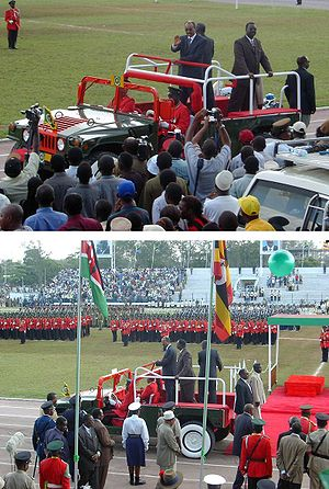 12 Jan. 2004, festivities at 40th anniversary of the Zanzibar Revolution. President Karume enters Amani Stadium in ceremonial Hummer