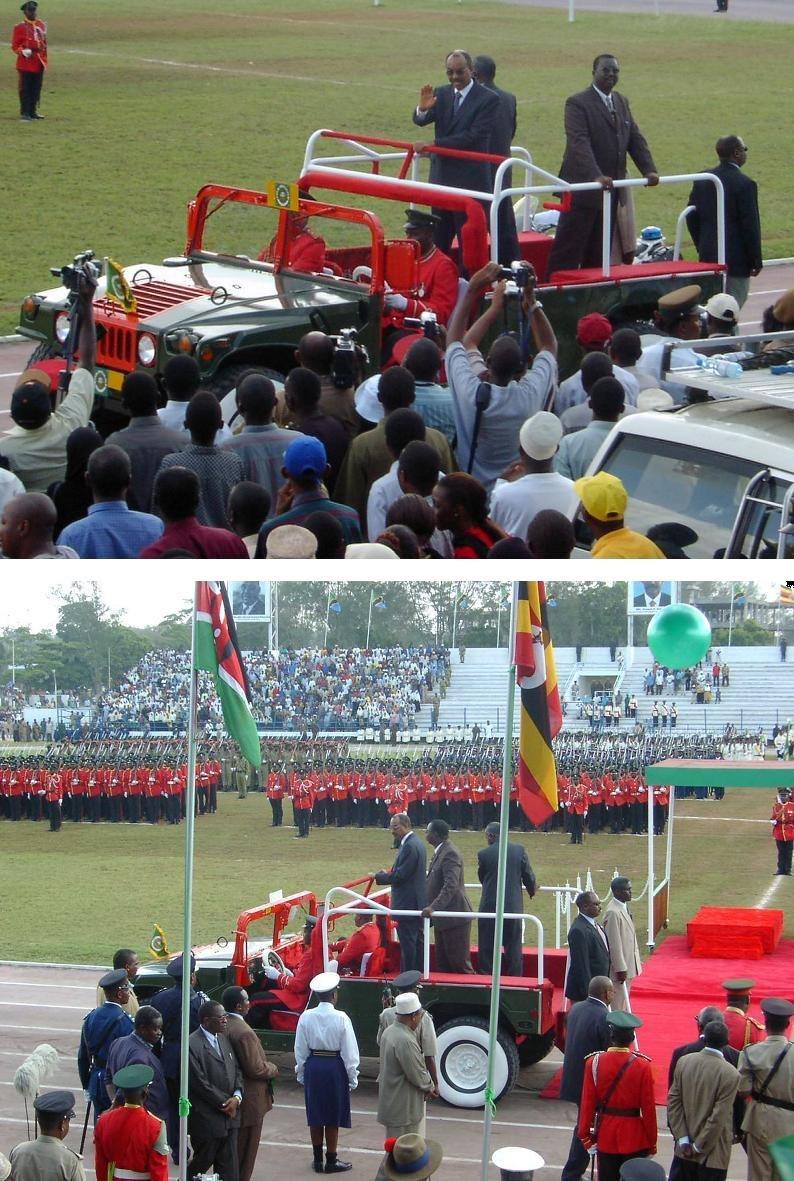 12 Jan. 2004, festivities at 40th anniversary of the Zanzibar Revolution. President Karume enters Amani Stadium in ceremonial Hummer