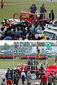 12 Jan. 2004, festivities at 40th anniversary of the Zanzibar Revolution. President Karume enters Amani Stadium in ceremonial Hummer.JPG