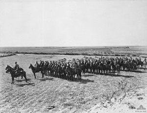 14th Light Horse Regiment (Australia) - 14th Light Horse Regiment on parade at Homs, Syria on Christmas Day 1918