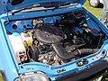 156 - 1993 blue Rover Metro Quest, engine bay with 1.1 carburator Rover K-series engine (2).jpg