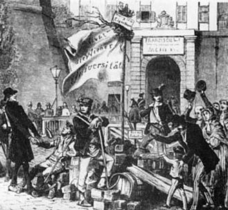 Revolutions of 1848 in the Austrian Empire - The Viennese students  Academic Legion played a key role in toppling Metternich's government and precipitating his retirement on 13 March 1848.