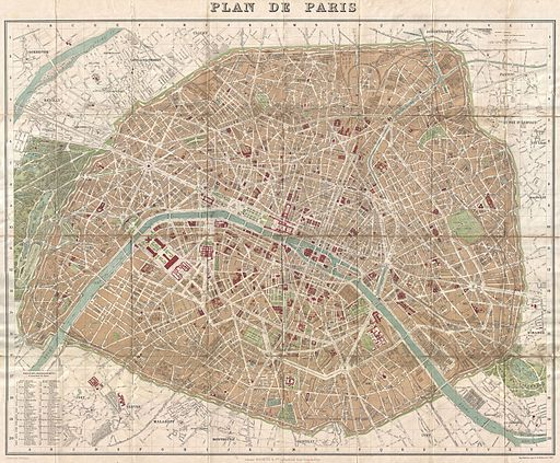 1894 Hachette Pocket Map of Paris, France (shows Eiffel Tower) - Geographicus - Paris-hachette-1894