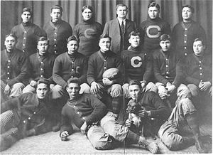 Pop Warner - The 1911 Carlisle Indians pose with a game ball from their upset of Harvard.