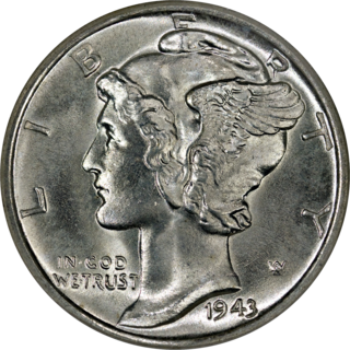 Mercury dime 10 cent coin minted in the USA between 1916 and 1945