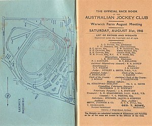 Shannon (horse) - Image: 1946 AJC Warwick Stakes Racebook P2