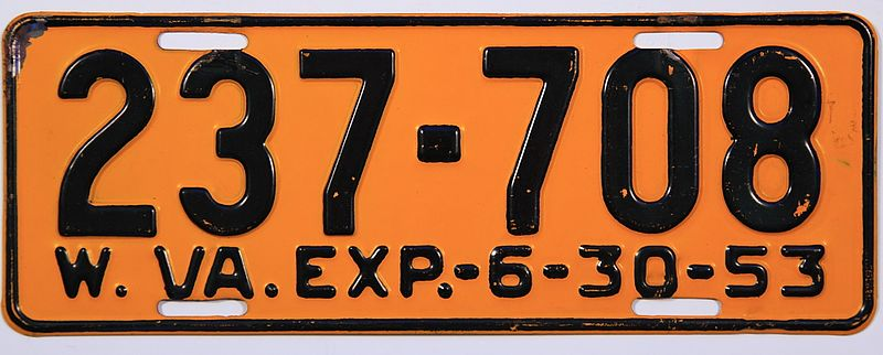 File:1953 West Virginia license plate.jpg