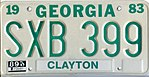 1983 Georgia license plate SXB 399.jpg