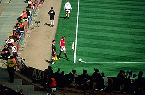 David Beckham - Beckham preparing to take a corner kick for Manchester United during the 1999 FA Cup Final at Wembley Stadium