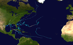 A map of the Atlantic Ocean depicting the tracks of 14 tropical cyclones.