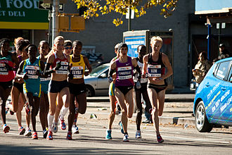 New York City Marathon - Women lead pack at mile 17 in Manhattan