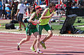 2013 IPC Athletics World Championships - 26072013 - Amanda Crotty of Ireland with her guide Kevin Nolan preparing for the Women's 1500m - T12 first semifinal.jpg