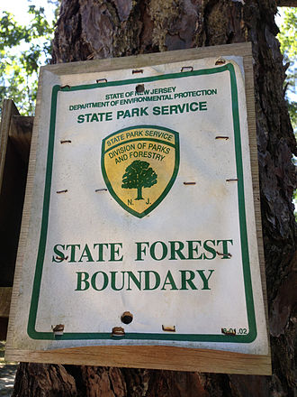 New Jersey Division of Parks and Forestry - Image: 2014 08 29 11 00 30 Sign at the north boundary of Wharton State Forest on White Horse Road in Tabernacle Township, New Jersey