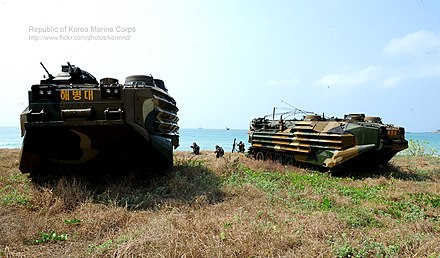 KAAV7A1 assault amphibious vehicles of the ROKMC at Cobra Gold 2014 in Thailand 2014.2.14. 2014 kobeuragoldeu yeonhabhunryeon2014 Cobra Gold Combined Exercise 14th, Feb, 2014 (12652073913).jpg