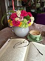 20151018 Opened book, a vase and a cup of coffee.jpg