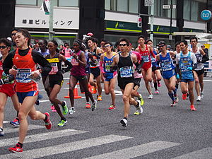 2015 Tokyo Marathon - The leading women in the marathon race (Tiki Gelana is left of centre, wearing number 31)