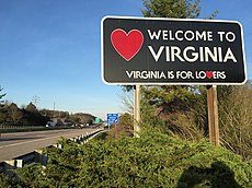 "2016-03-23 18 43 28 ""Welcome to Virginia"" sign along northbound Interstate 81 entering Washington County, Virginia from Bristol, Tennessee.jpg"