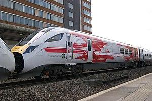 British Rail Class 800 - Image: 2017 04 06 Hitachi Promotional Liveried IEP IET 800001 & 800002, Swindon Luke Deaves