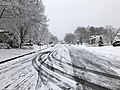 2018-03-21 10 14 13 View northeast along a snow-covered Allness Lane (Virginia State Route 6652) at Dairy Lou Drive (Virginia State Route 6843) in the Franklin Farm section of Oak Hill, Fairfax County, Virginia.jpg