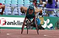 231000 - Athletics wheelchair racing 800m heat Kurt Fearnley action - 3b - 2000 Sydney race photo.jpg