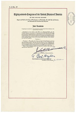 Twenty-fourth Amendment to the United States Constitution - The official Joint Resolution of Congress proposing what became the 24th Amendment as contained in the National Archives