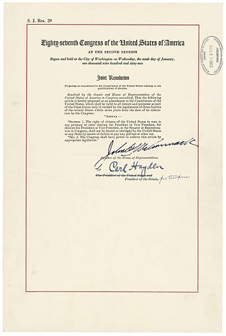 87th United States Congress - The official Joint Resolution of Congress proposing what became the 24th Amendment as contained in the National Archives