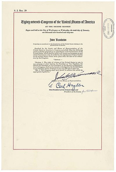 The Official Joint Resolution Of Congress Proposing What Became The 24th Amendment As Contained In The National Archives