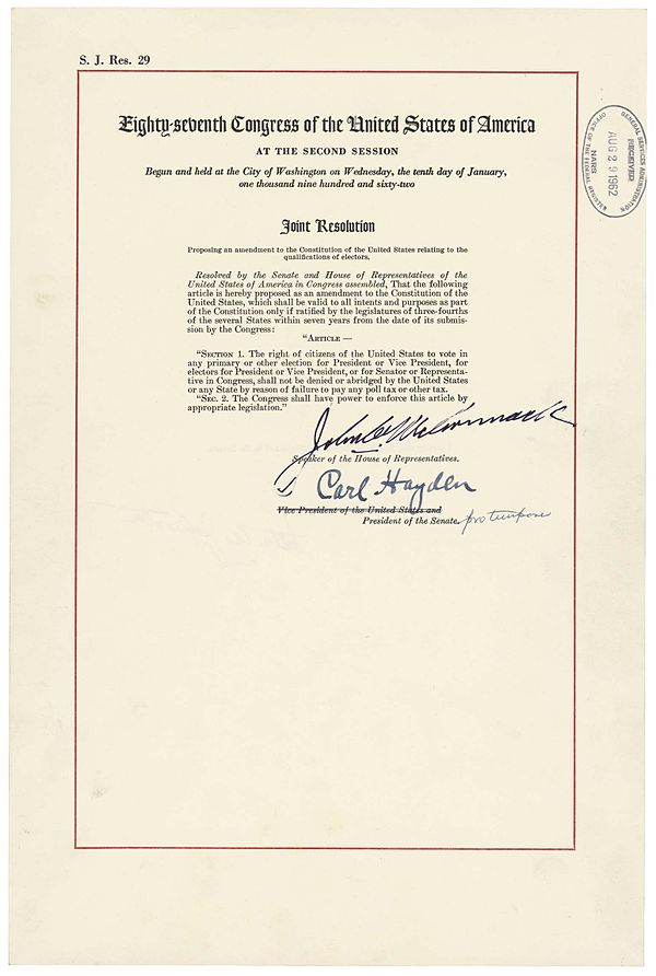 The official Joint Resolution of Congress proposing what became the 24th Amendment as contained in the National Archives 24th Amendment Pg1of1 AC.jpg
